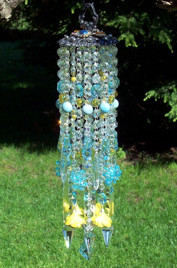 Jeweled Light Aqua and Yellow Antique Roses and Crystal Wind Chime