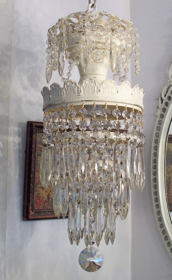 Shabby Chippy Antique Wedding Cake Chandelier With Extra Icing