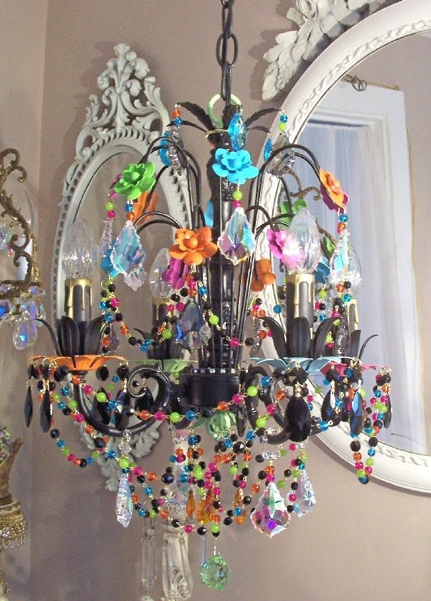 Sale Hand Painted Daisies Vintage Tole And Crystal Chandelier