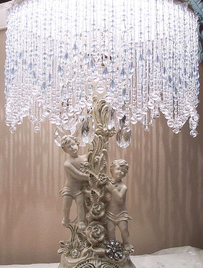 Exquisite Vintage Cherubs Rhinestones And Roses Table Lamps