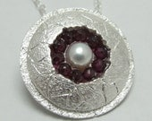 Circle of Garnets Silver Pendant
