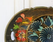 Vintage Folk Art Handpainted Tray