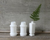 RESERVED FOR JILL Milkglass and Apothecary Bottles - Set of Seven