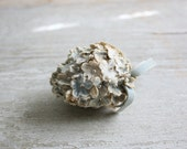 Little Vintage Pale Blue Easter Egg - Velvet Flowers with Pearl Centers