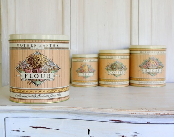 Set of Vintage Tin Canisters  - Mother Earth's Brand