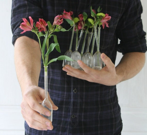 RESERVED FOR MICHELLE  - 2 Vintage Lab Beaker Bud Vases