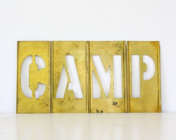 RESERVED for VIX - Vintage Brass Stencil Letters - CAMP