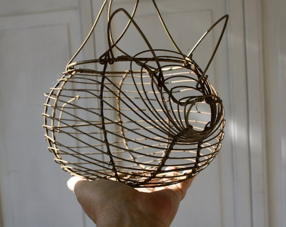 Vintage French Wire Pig Basket