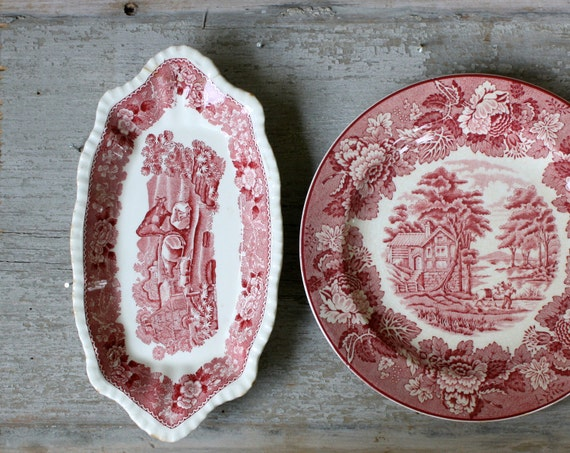 Vintage Red Transferware Serving Pieces - Lunch Plate and Relish Tray