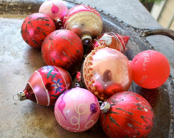 Vintage Mercury Glass Christmas Ornaments -  Pinks