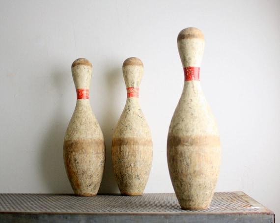 Vintage Bowling Pins - Set of Three