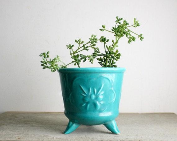 Vintage Turquoise Ceramic Planter