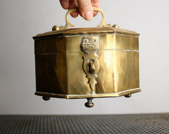 Vintage Octagonal Brass Cricket Box