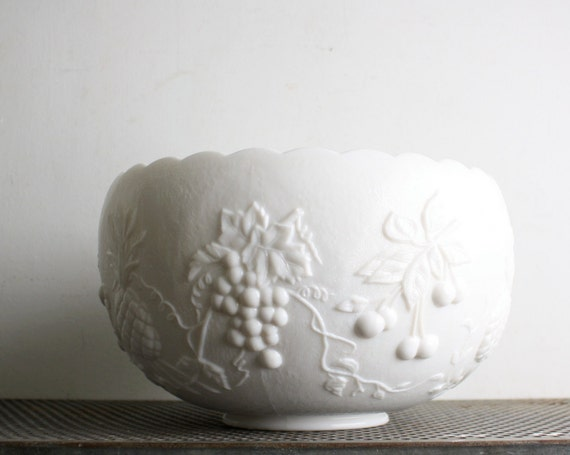 RESERVED FOR JANICE - Vintage Milk Glass Punch Bowl
