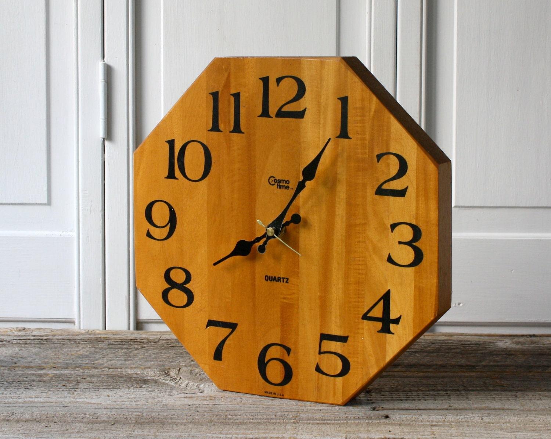 Vintage Octagon Butcher Block Wall Clock