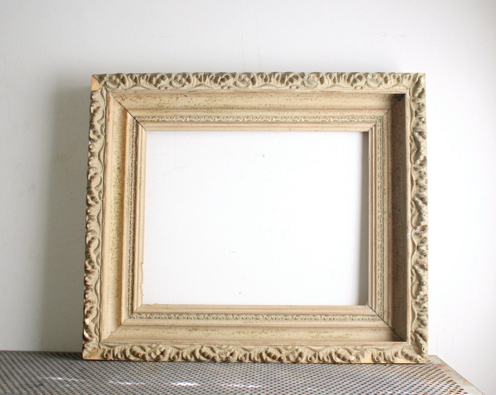 Antique Carved Wood Picture Frame by shavingkitvintage on Etsy