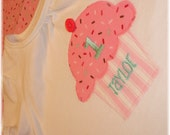 Happy 1st Birthday Tshirt-Pink Sprinkles-Personalized with name and number