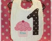 Happy 1st Birthday Girl Bib-Number Cupcake Applique Chenille Bib-Sprinkles