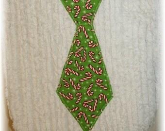 Christmas Neck Tie Bib- chenille applique bib with candycanes