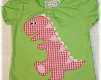T REX Dinosaur Girls T shirt-Pink Gingham Applique