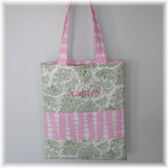 Boutique Crayon Caddy Tote-Green Toile and Pink Beads Fabrics-Holds 9 Crayons-Free Personalization