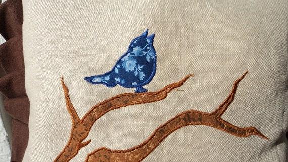 Pair of Blue Bird pillows