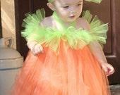 2 QT Little Lady Pumpkin Costume - Orange and Lime Green Tutu Dress