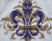 Gold Rococo and Violet Fleur de lis Hand Painted Onesie
