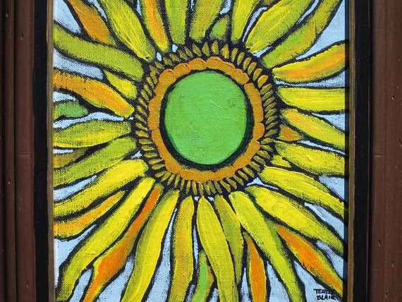 Framed Sunflower original acrylic painting