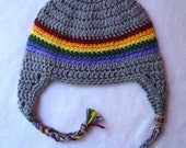 Infant crochet earflap hat 3-9 month, heather grey with rainbow
