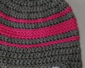 Infant crochet earflap hat, 3-6 month, heather grey and hot pink