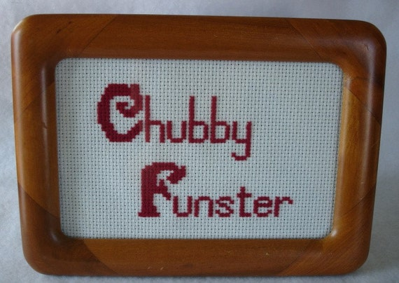 Chubby Funster Ricky Gervais cross stitch