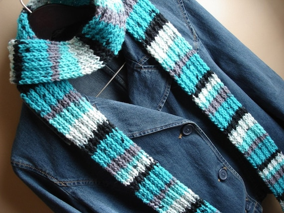 Turquoise and black striped knit scarf