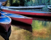 Canoes at Rest  8x10 Red Canoe Color Photograph