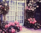 French Doors Photograph Doorway to Roses Polaroid Fine Art Print Cottage Style Wall Decor