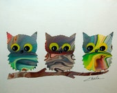 Vintage Owl Art Lithograph signed Enslia