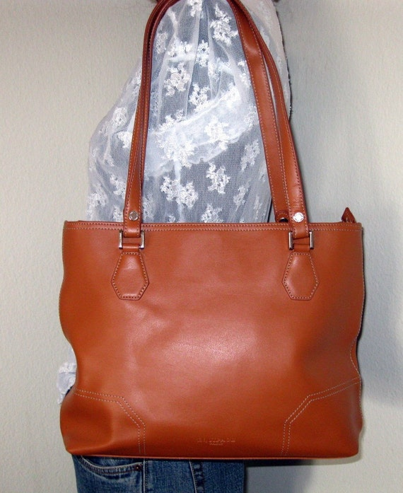 Equipage Paris simple functional tote satchel purse bright tan gen leather