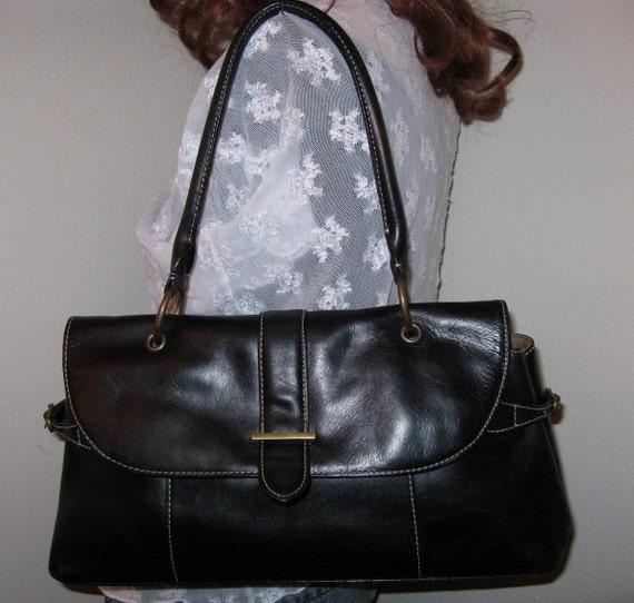 Eddie Bauer genuine cowhide leather satchel purse vintage 80s