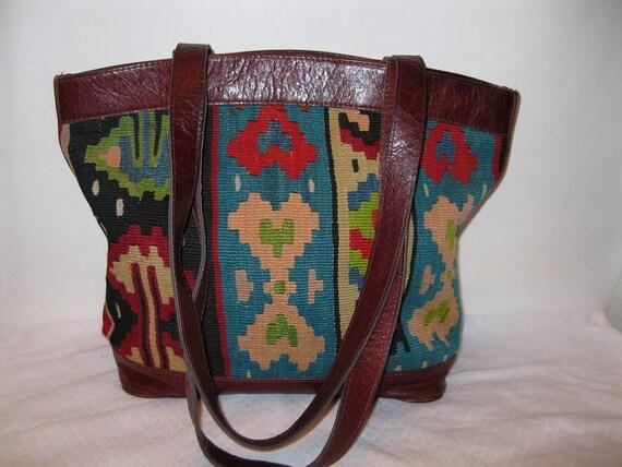 Kilim genuine Turkish kilim grain leather satchel bag purse navajo accents