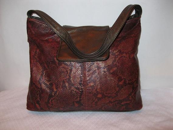 Dawli USA thick soft genuine leather large  satchel tote shoulder bag gorgeous vintage 90s