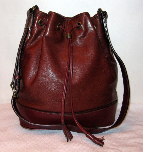 Talbots all thick gen leather elegant drawstring tote satchel bag gorgeous