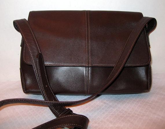 Tignanello soft thick  leather   bag purse vintage brown