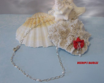Carved Coral Flower & Pearl Necklace