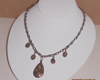 Leopard Skin Jasper with Gun Metal Chain Necklace