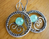 DESTASH Sterling wire wrapped Hoops with faceted Aqua Chalcedony