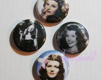 Rita Hayworth 1 inch Button Set no 1