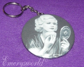 Jean Harlow Powdering Her Face 2.25 inch  Key Chain