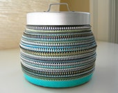 SALE - Blues and Greens Layered Vintage Zipper Jar
