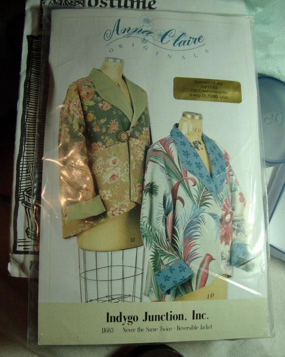 Jacket Pattern Never the Same Twice Reversible Jacket By Indigo Junction, Inc. New and Uncut FREE SHIPPING Item 326129