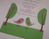 Baby shower invitation Birds in the Grass (set of 10)